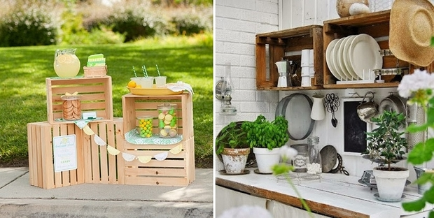 upcycling wooden crates kitchen shelves decoration garden table diy ideas