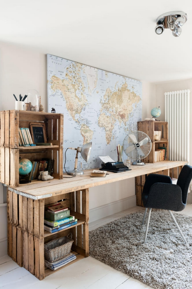 Upcycling wooden crates storage solutions creative diy office ideas hangling world map