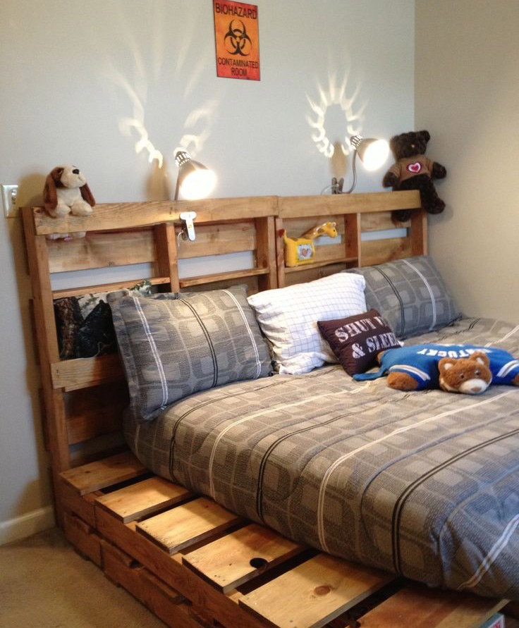 adjustable pallet bed frame kids room idea plush toys bedside lamp pillows