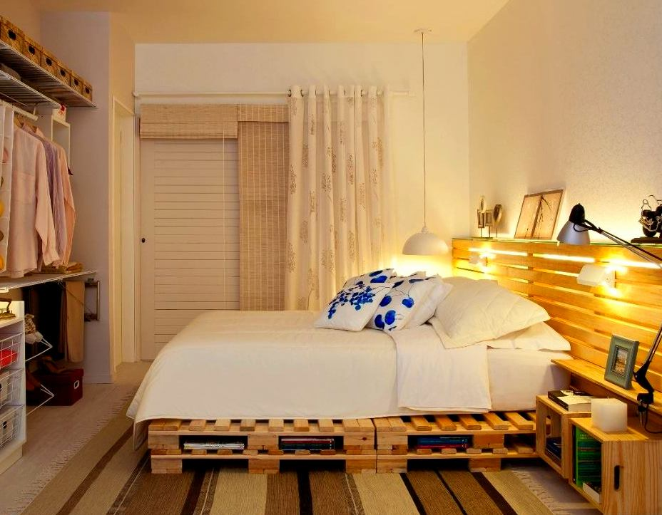 Double pallet bed frame upcycle diy idea cozy bedroom wardrobe