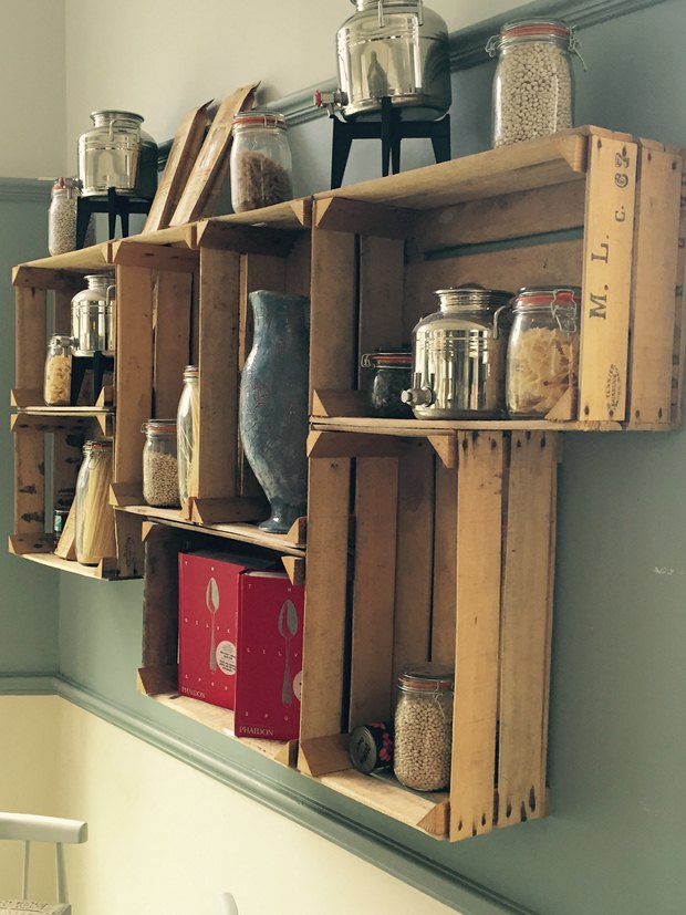 reused wooden crates storage containers unique kitchen design ideas