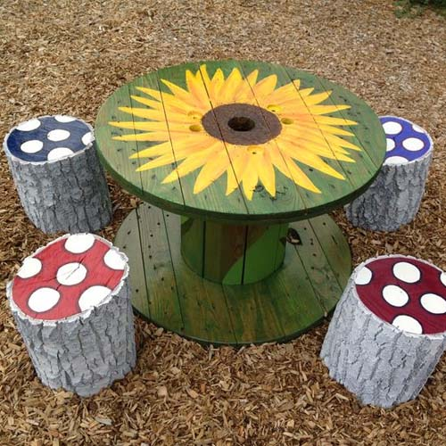 wooden cable spool table sun painted creative diy decoration wooden handmade chairs