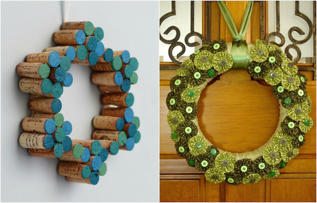 cheap christmas wreath crafts made from old recycled wine corks sewing buttons