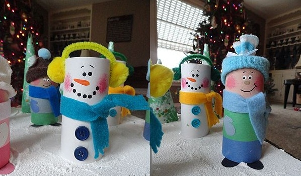 christmas crafts for kids reuse toilet paper rolls diy snowman decorating ideas