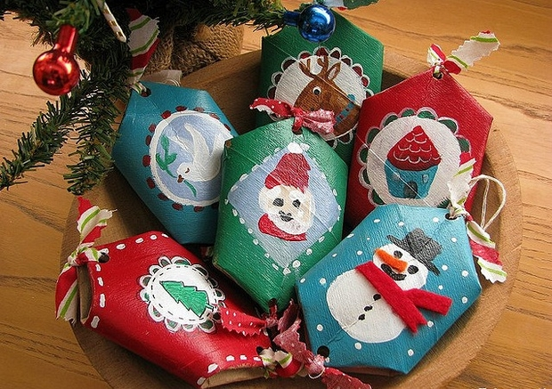 christmas crafts for kids reused painted toilet paper rolls creative decorating tree ornaments ideas