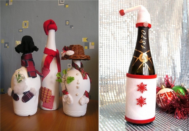 Christmas crafts made of glass bottles snowmen with fun hats and