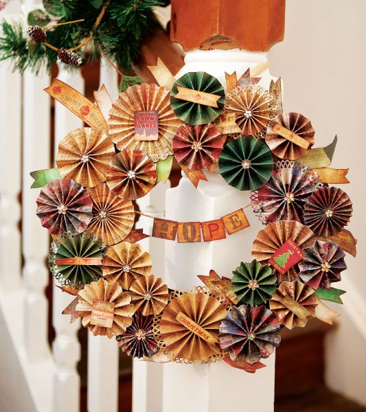 christmas door wreath from reused paper cocktail umbrellas diy creative decorating ideas