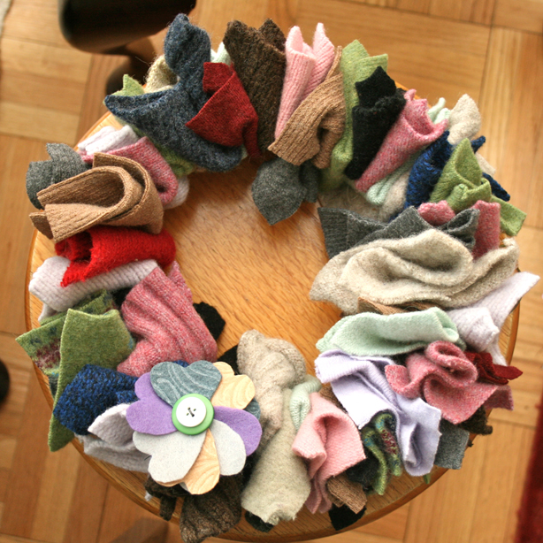 christmas door wreaths project old unwanted socks and rags door decoration