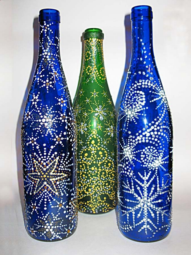 shiny decorated empty glass bottles diy christmas homemade ideas
