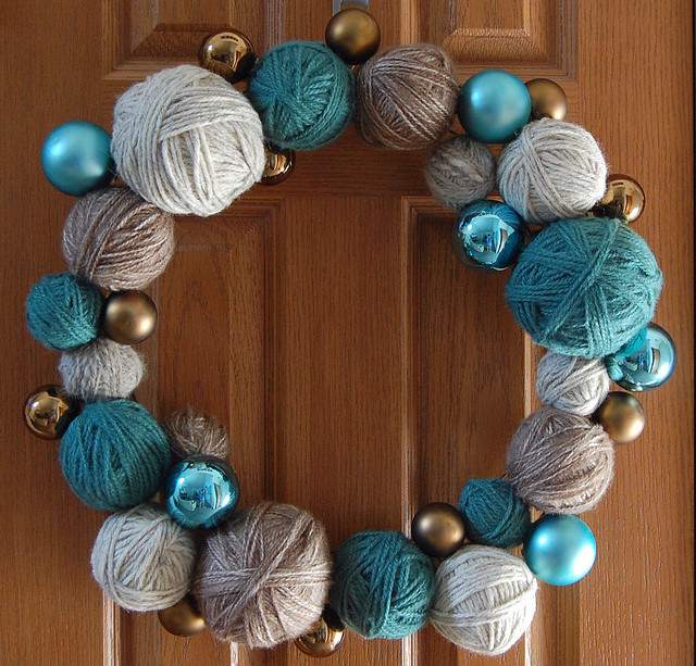 diy christmas wreath crafts idea yarn christmas ornament balls