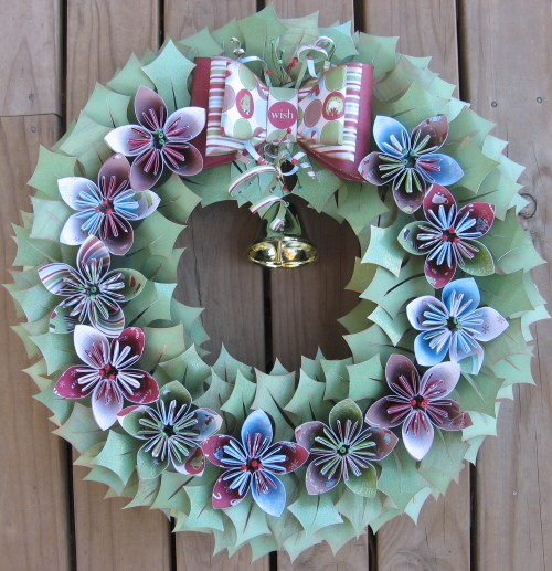 front door homemade wreath paper ribbon colourful diy flowers