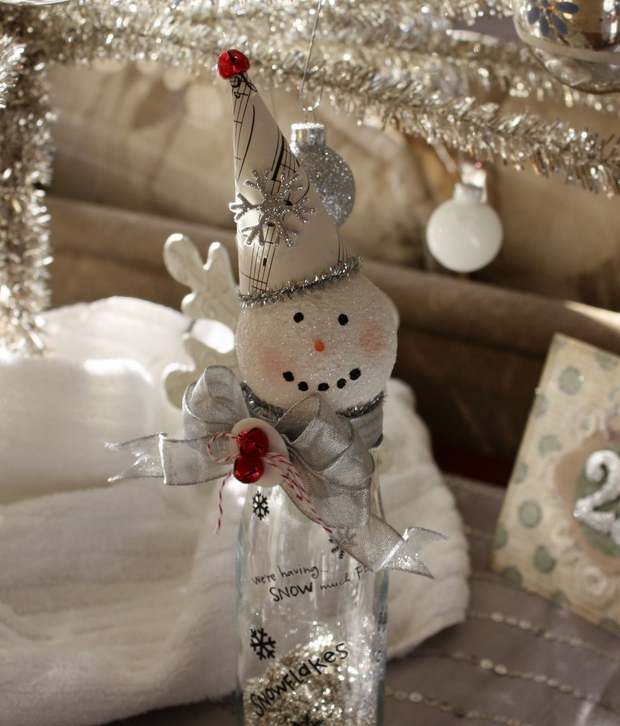 handmade christmas crafts diy snowman with hat and ribbon made from old glass bottles