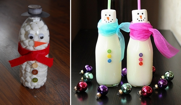 marshmallow snowman bottles with cute scarves diy upcycle plastic bottle christmas decorating ideas