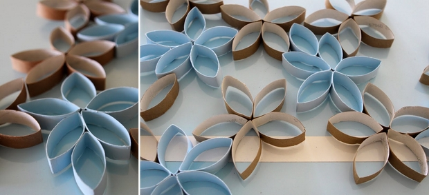 reuse toilet paper rolls colorful christmas diy snowflakes decorating ideas