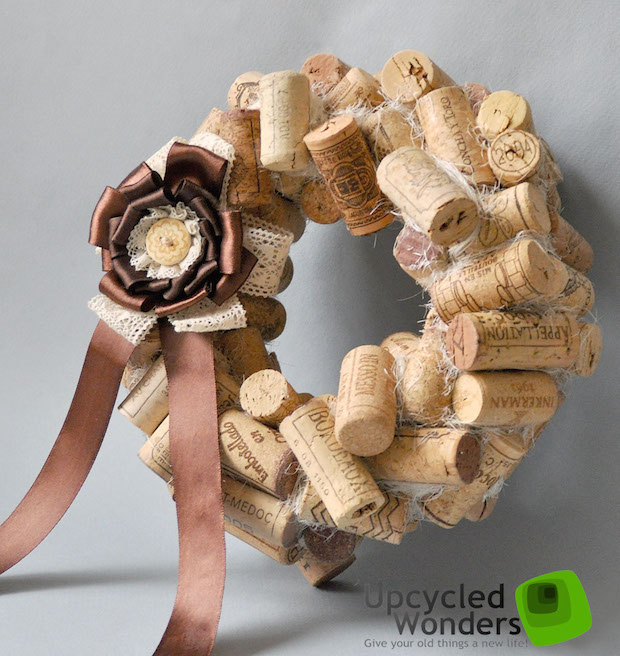 diy wine cork craft recycling christmas door wreaths idea