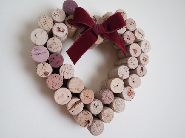 creative valentines day gift idea wine cork heart wreath ribbon decoration