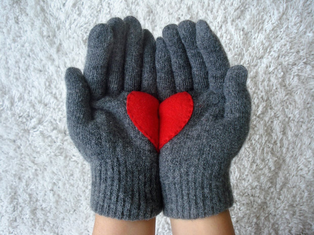 handmade valentines day gift for her upcycling old gloves heart decoration