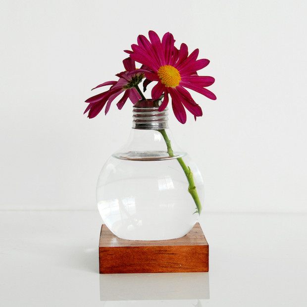 reused lightbulb vase flower decoration for valentines day