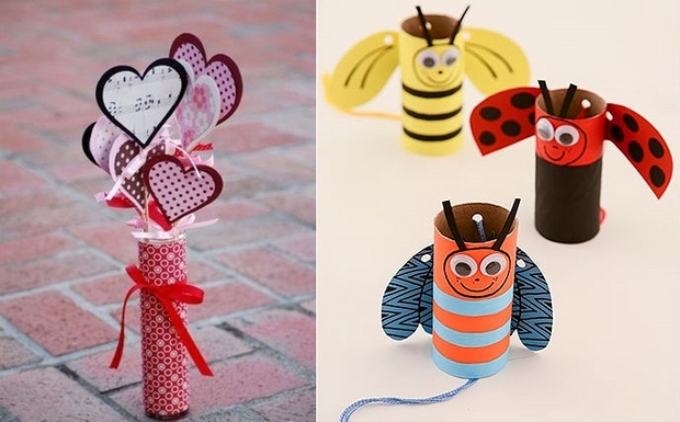 Valentines Day Crafts For Kids Love Bees Made Of Empty Toilet Paper Tubes Hearts Decorating