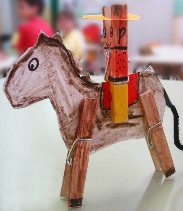 Diy Homemade Clothespin Crafts Cowboy Kids Ideas With Horse