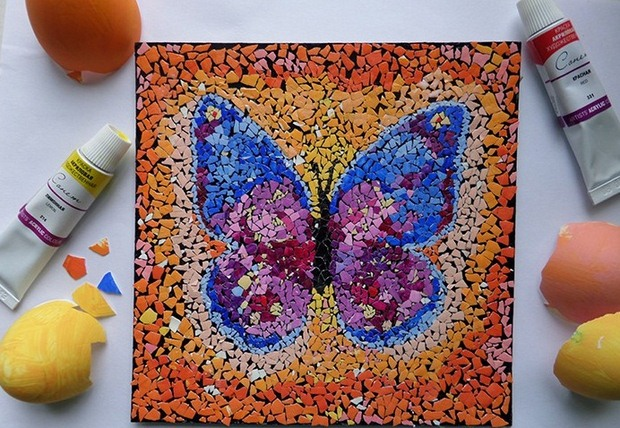 reuse eggshell mosaic art diy butterfly easter decorating ideas