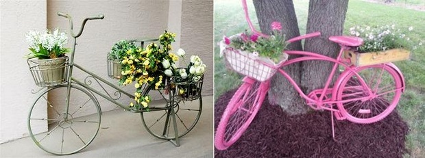 repurposed bike used as garden decoration with flowers