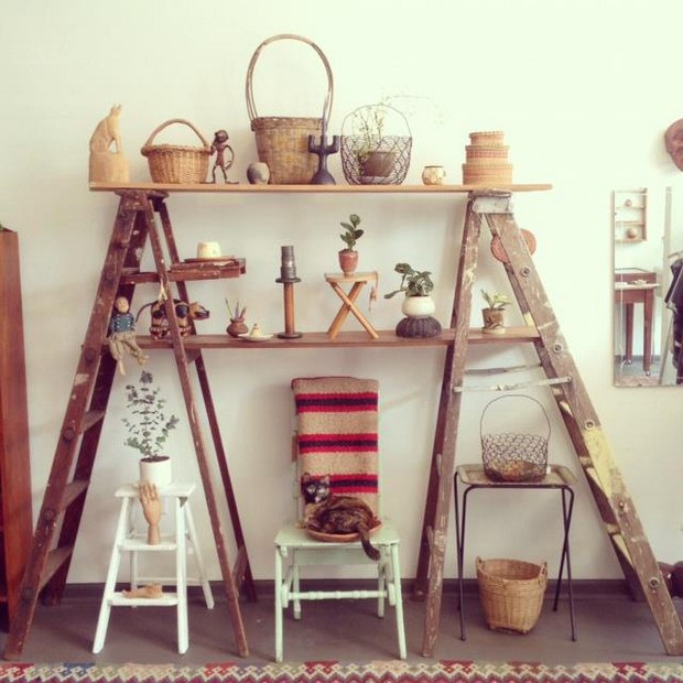 Upcycled Home Decor Ideas Part - 18: Reused Ladder Tower Rack Home Creative Decoration Upcycling Ideas