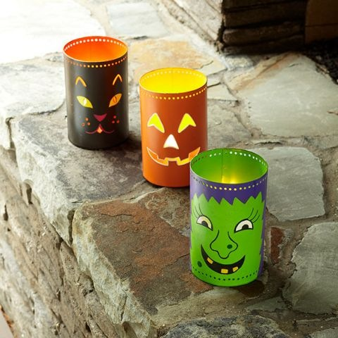 halloween crafts from reused old tin cans scary lanterns outdoor decoration - Recycled Halloween Decorations