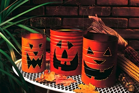 jackolantern halloween crafts for repurposed tin cans spooky decor ideas - Diy Halloween Crafts