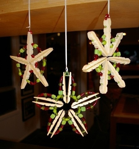 reused clothespins christmas star ornaments tree decor ideas