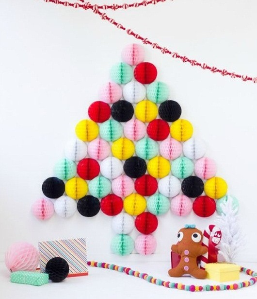 alternative christmas tree colorful paper honeycomb ball decoration ideas