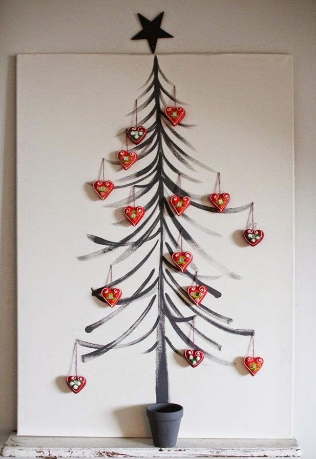 alternative christmas tree painted wall black star hanging heart toys decoration