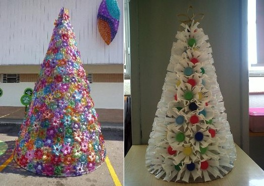 reused christmas tree plastic bottles art project upcycled ideas