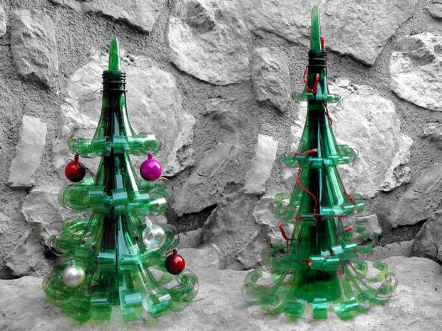 alternative christmas tree reused plastic bottles christmas toys decoration