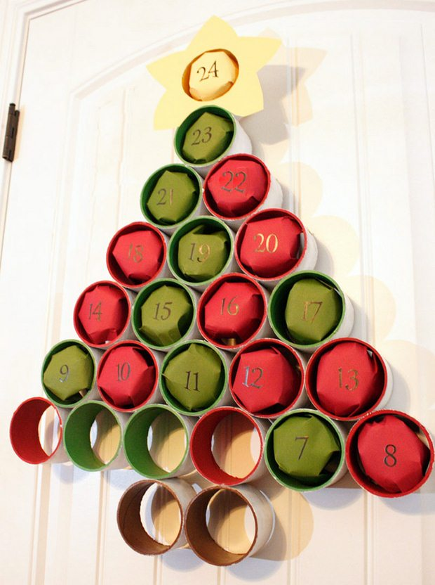 repurposed christmas tree toilet paper rolls advent calendar creative ideas