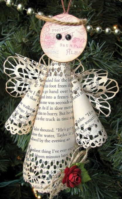 book paper christmas ornaments diy crafts snow white decoration ideas & Book Page Christmas Ornaments - 22 Upcycled Ideas
