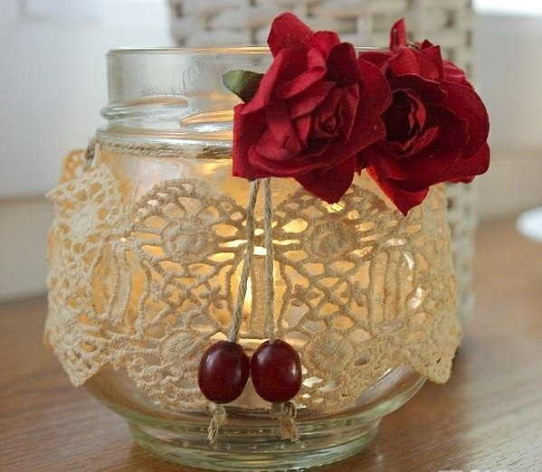 glass jar christmas crafts candle red roses decoration ideas