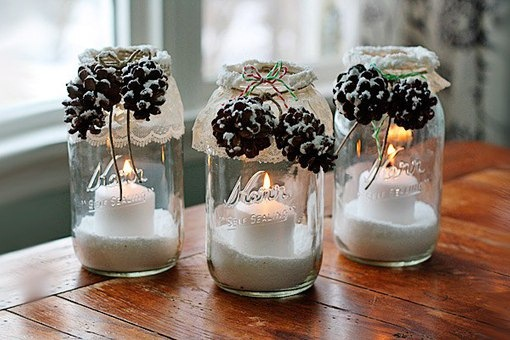 glass jar christmas crafts diy luminaries pinecones decorative snow ideas