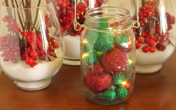 gliter glass jar christmas crafts cranberries balls reused decoration ideas