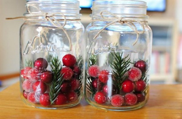 Holiday Centerpieces With Cranberries : Glass jar christmas crafts homemade inspirations