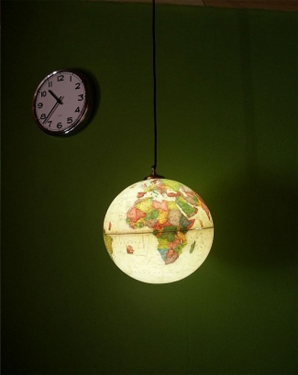 repurposed upcycled world globe hanging pendant light decor