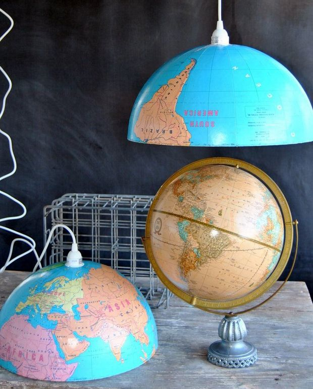 upcycled world globe homemade pendant lights decoration ideas