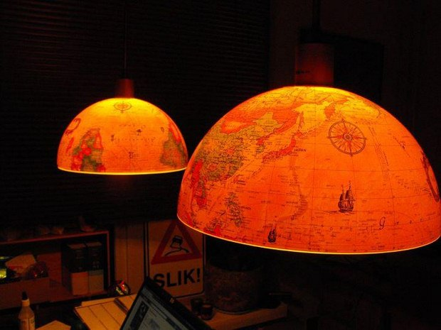 upcycled old world globe two halfs pendant lights amazing decor