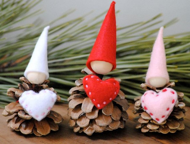 valentine day gift for him fir cones hearts decorated white red hats diy craft decor
