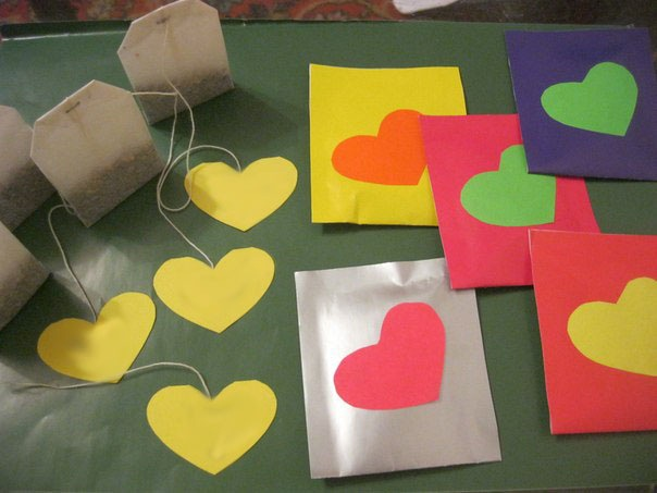 valentines day gift for him handmade tea bags decorated paper colorfull hearts