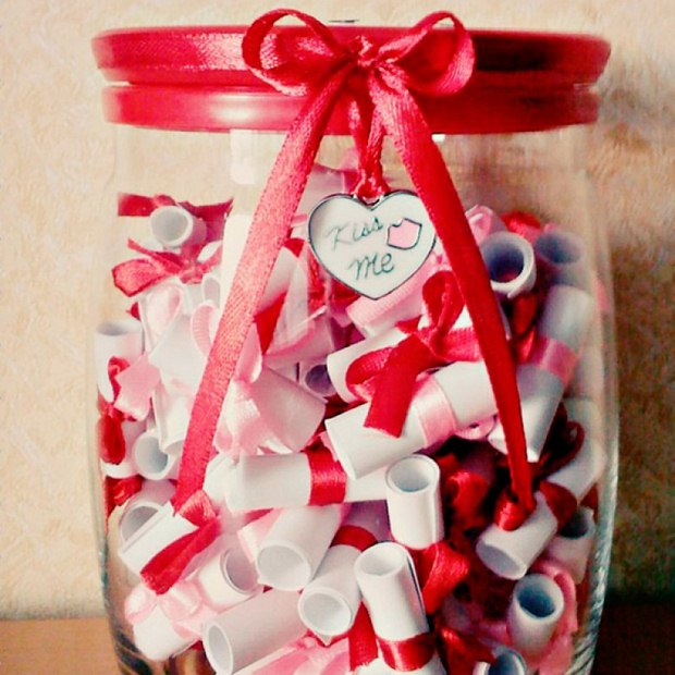 valentines day gift for him old jar full love messages ribbon creative idea