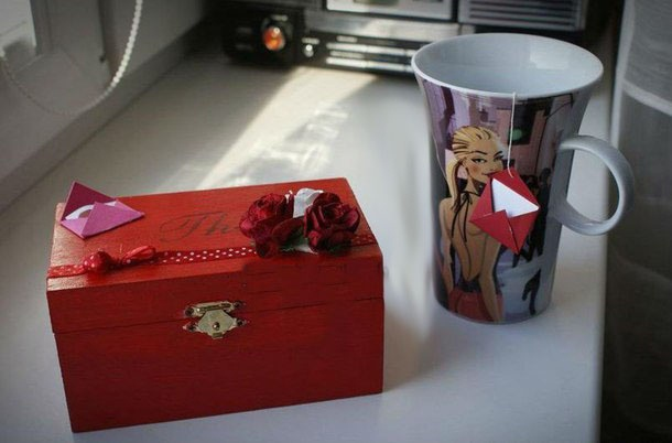valentine's day gift for him red wooden tea box cup of tea diy present