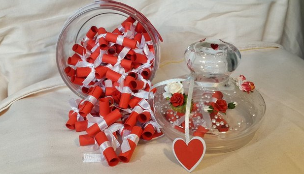 valentine's day gift for him reused old glass cup red paper love messages reasons to love you white ribbons