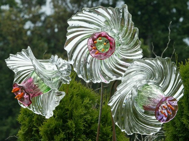 garden glass flowers clean glass reused bowls art decoration