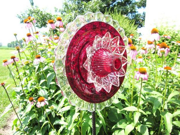 garden glass flower dinner plates colored bowl backyard decoration